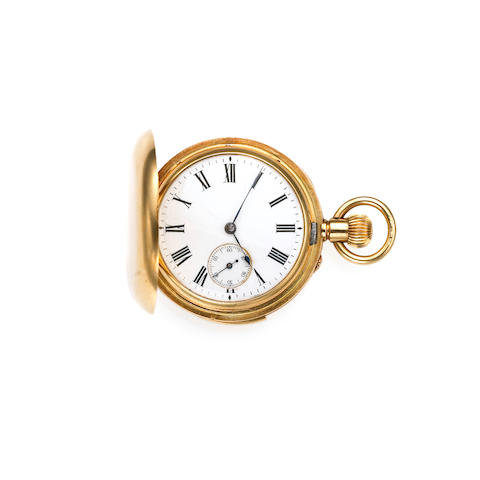 Swiss. An unusual miniature 18k gold minute repeating hunting cased pocket watch with 18k gold chain  Circa 1900