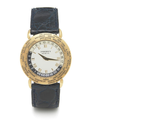 Svend Anderson, Geneve. An 18k gold self-winding world-time wristwatch 'World-Time' 1990s