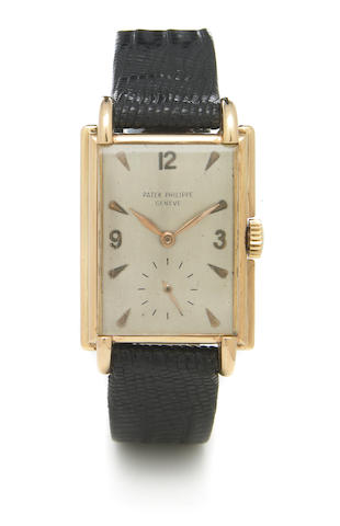 Patek Philippe. An unusual 18k rose gold rectangular wristwatch Ref.2477, Case No.512377, Movement No.974280, made circa 1952