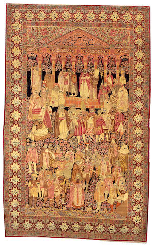 A Lavar Kerman rug titled 'The Leaders Of The World' South Central Persia, size approximately 5ft. x 8ft.