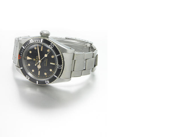 Rolex. A fine and rare stainless steel self-winding divers bracelet watch Oyster Perpetual Submariner, Ref.5510, 200m = 660ft, made in 1958
