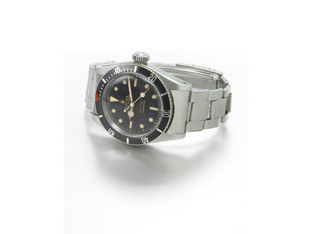 Rolex. A fine and rare stainless steel self-winding divers bracelet watchOyster Perpetual so called 'James Bond' Submariner, Ref.5510, 200m = 660ft, made in early 1958