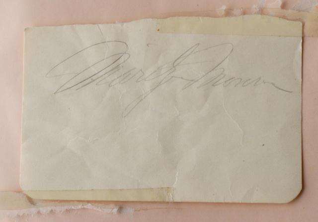 A Marilyn Monroe autograph, 1952