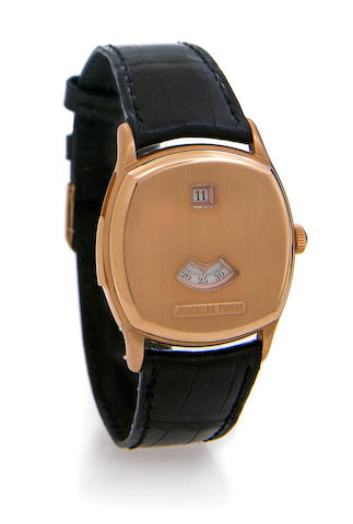 Audemars Piguet. A fine and rare 18k pink gold cushion cased minute repeating jump-hour wristwatchJohn Shaeffer Jump-Hour Minute Repeater, No.21/25, circa 1997