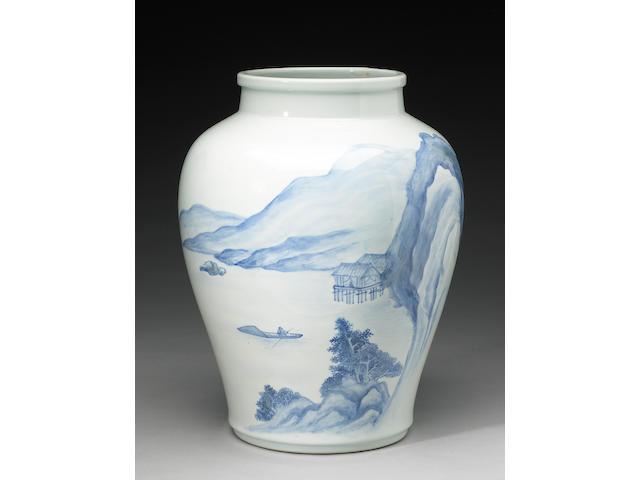 Makusu Kozan: a large pale blue vase ,Meiji Period