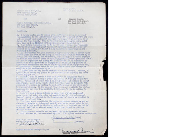 A Tyrone Power signed contract, 1935