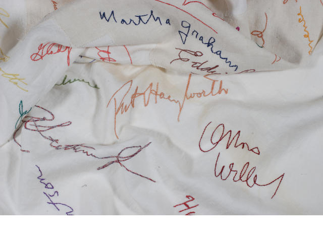 A tablecloth from Romanoff's signed by numerous celebrities, 1940s