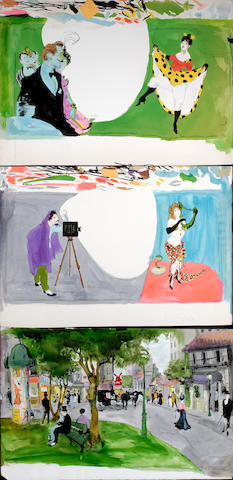 "A group of original watercolor title cards from ""Can-Can"""