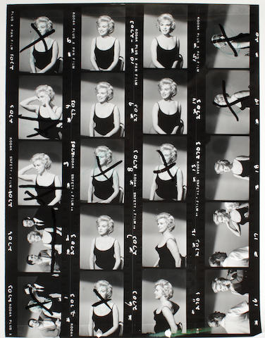 "A Marilyn Monroe set of never-before-seen black and white contact sheets from ""Let's Make Love"""