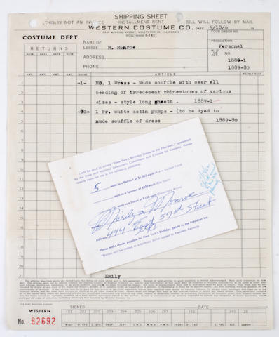 A Marilyn Monroe document related to her gown and pumps worn to President John F. Kennedy's birthday