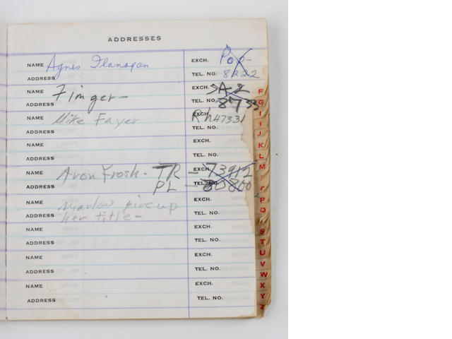 A Marilyn Monroe annotated phone book, circa 1960