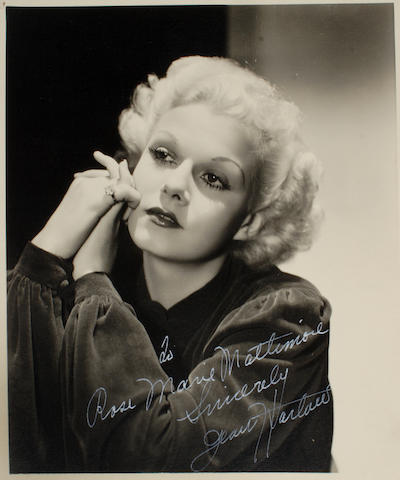 A Jean Harlow signed sepia photograph to Richard Arlen's mother, 1930s