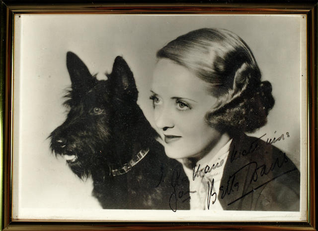 A Bette Davis signed black and white photograph to Richard Arlen's mother, 1930s