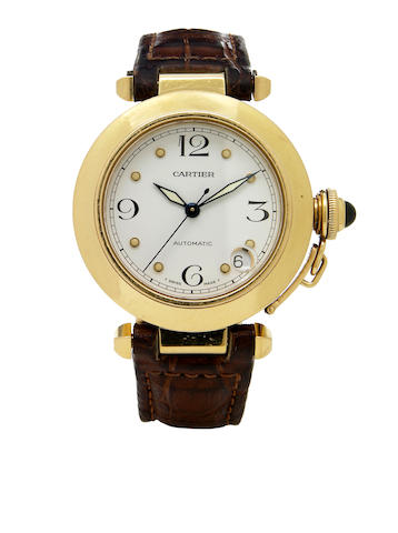 Cartier. An 18k gold self-winding calendar wristwatch Pasha, 1990s