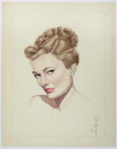 A group of drawings depicting female movie stars by Braff, circa 1950s