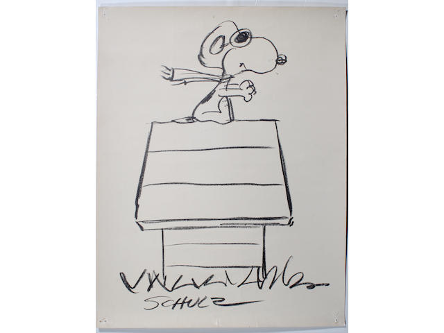 A Charles Schulz drawing of Snoopy as the Red Baron