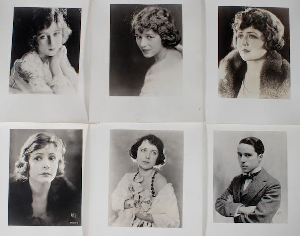 A collection of sepia/black and white portraits of silent-era  movie stars, 1920s