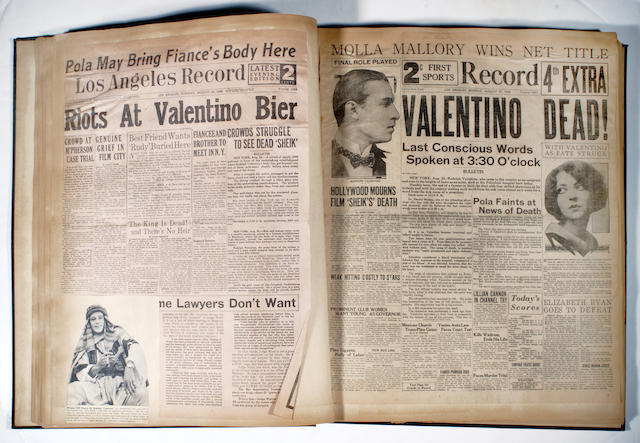 A Rudolph Valentino scrapbook compiled by a fan, 1926-1950s