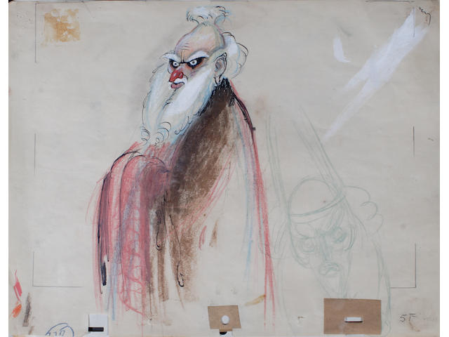 "A Joe Grant study drawing of the sorcerer from ""Fantasia"""