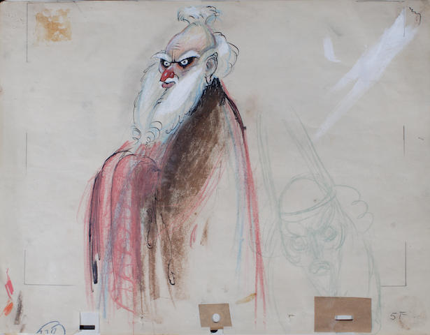"""A Joe Grant study drawing of the sorcerer from """"Fantasia"""""""