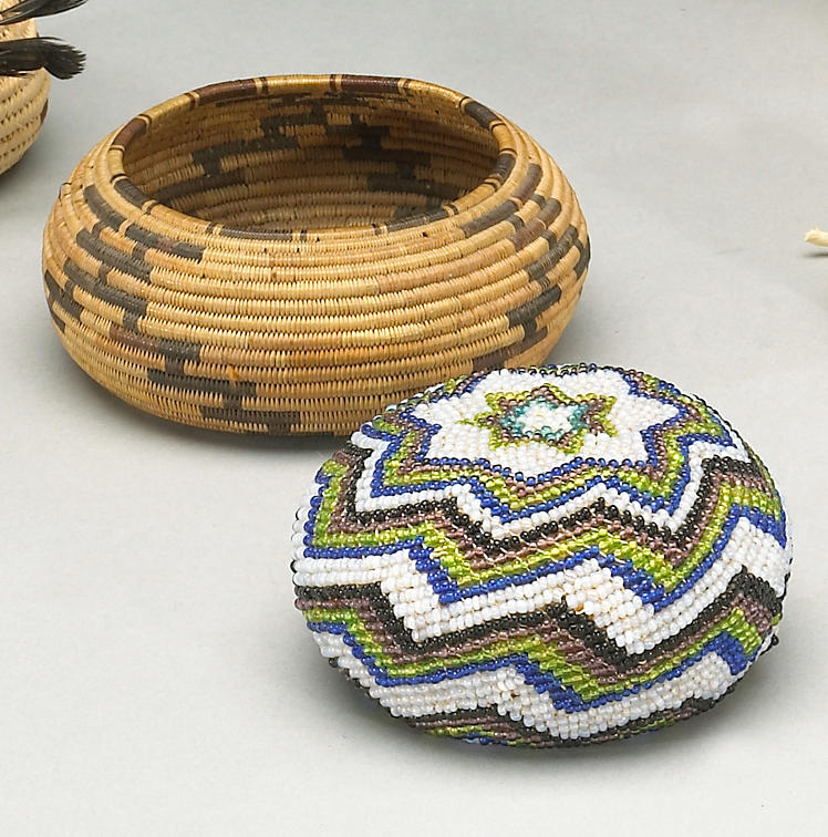 Two Native American miniature baskets