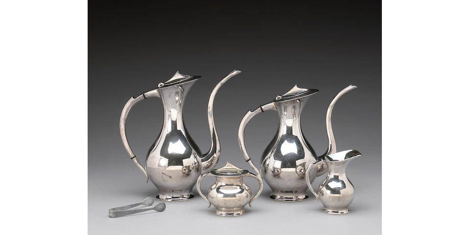 Japanese Silver Four Piece Tea and Coffee Set with Tongs in Case