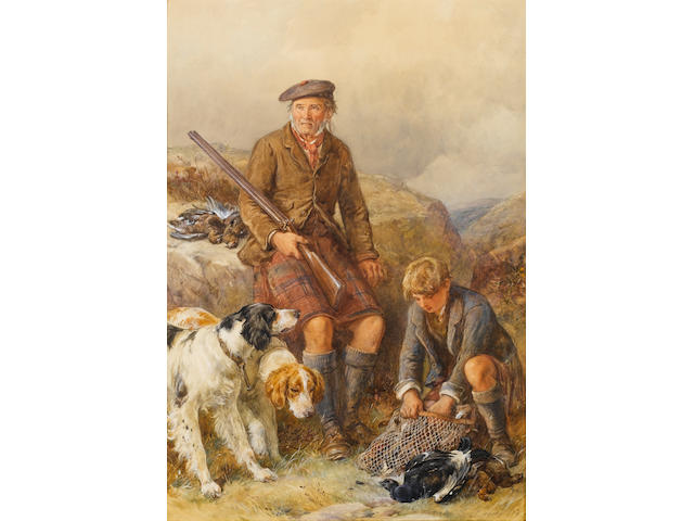 James Hardy Jnr. (British, 1832-1889) Ghillie with dogs and game