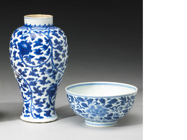 Two blue and white porcelains Kangxi Period