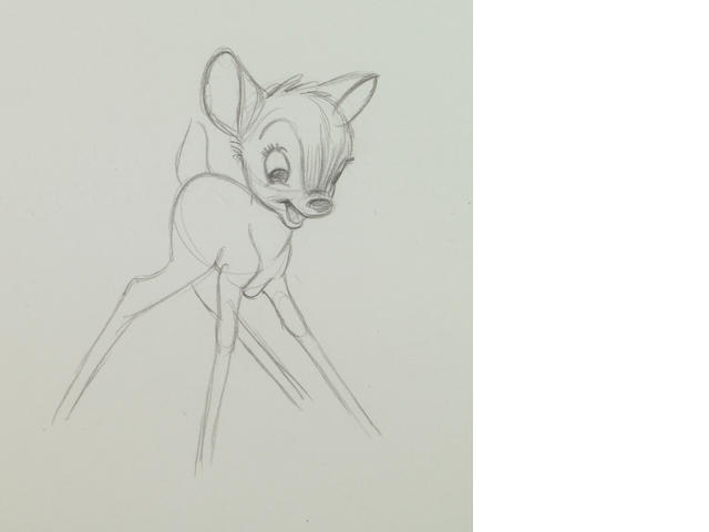 "Approximately 231 Walt Disney rough sequential drawings from ""Bambi"""