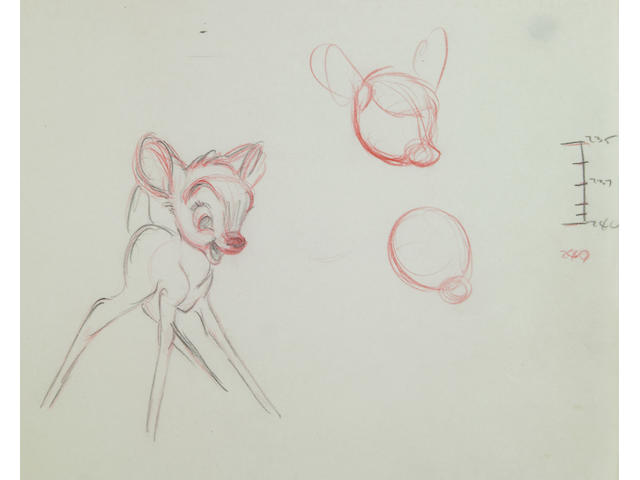 "Approximately 69 Walt Disney rough sequential drawings from ""Bambi"""