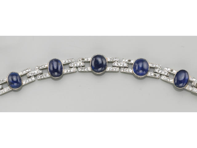 An art deco sapphire, diamond and eighteen karat white gold bracelet, J. Chaumet, Paris,