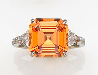 A mandarin garnet, diamond and platinum ring,  Paolo Costagli