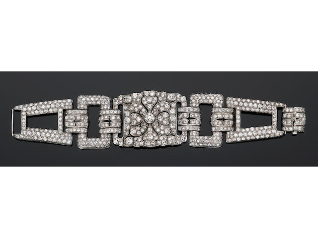 A late art deco diamond and platinum bracelet,