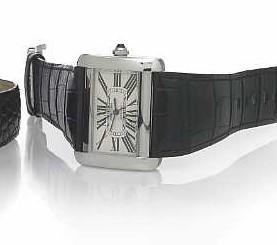 Cartier. A stainless steel self-winding horizontal rectangular wristwatch 'Tank Divan' automatic, Ref.2612, circa 2006