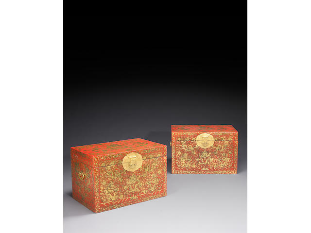 A fine pair of gilt decorated red lacquer storage chests (xiang) Qianlong Period