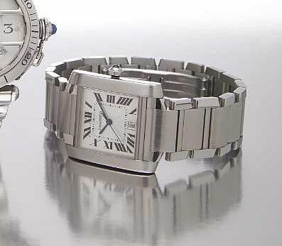 Cartier. A stainless steel self-winding rectangular calendar bracelet watch  Tank Francaise, Ref.2302, circa 2005
