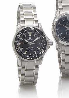 Omega. A Lady's stainless steel quartz calendar divers bracelet watchSeamaster Professional 300m/1000ft, circa 2005