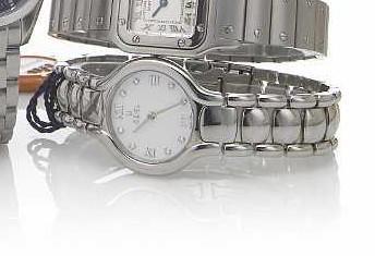 Ebel. A Lady's stainless steel quartz bracelet watch with diamond set mother-of-pearl dialBeluga, circa 2002