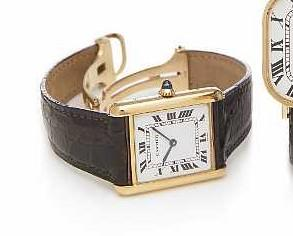 Cartier. An 18k gold rectangular wristwatch with 18k gold deployant buckle Tank, late 1970s