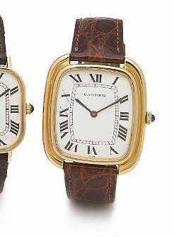 Cartier. An 18k gold oversized cushion cased wristwatchGondole, 1970s