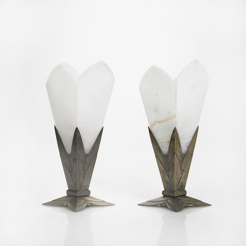 Pair of Albert Cheuret silvered-bronze and alabaster table lamps