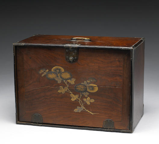 A lacquer decorated storage box