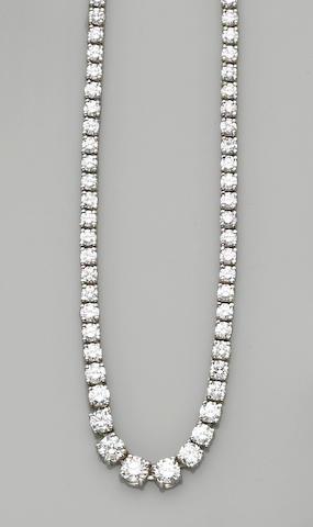 A diamond and platinum rivière necklace