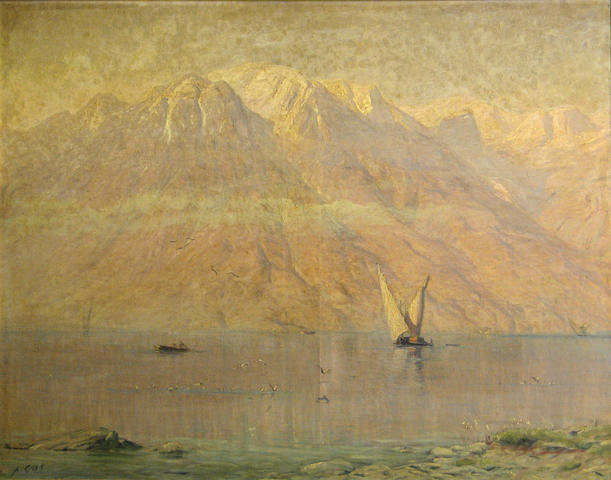 Albert Henri John Gos (Swiss, 1852-1942) A calm lake at sunset 30 3/4 x 39 1/2in (78.1 x 100.4cm)