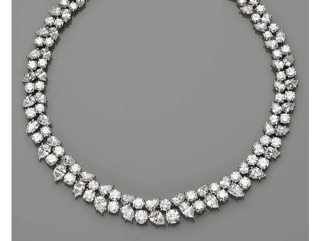 A diamond and platinum necklace