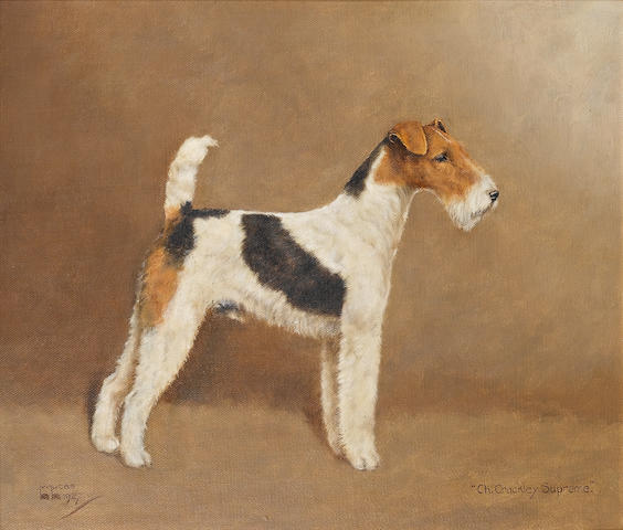 William Lucas Lucas (British, 20th century) Portrait of the champion Wire-Haired Fox Terriers 'Crackley Supreme' and 'Ch Barry Benedict' each 12 x 14 in. (30.5 x 35.5 cm.) ((2))