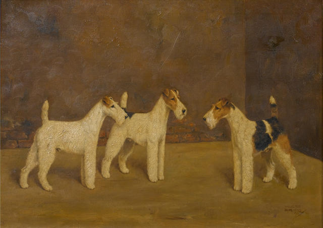 William Lucas Lucas (British, 20th century) Three Airedale Terriers 17 x 24 in. (43 x 61 cm.)