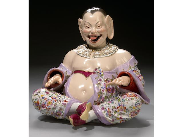 A Meissen porcelain nodding head pagoda figure