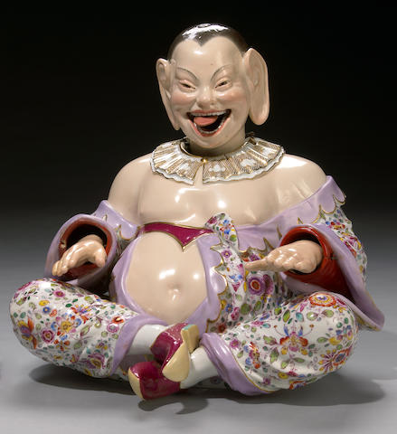 A Meissen porcelain nodding head pagoda figure