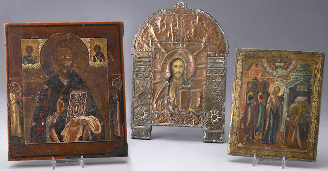 A group of three Russian icons